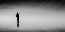 Silhouette Illustration Of A Man Standing In The Space Of Nowhere With Copy Space -