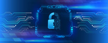 Abstract Blue Background With Various Technology Elements. Futuristic Padlock Vector Illustration. Cyber Attack Protection. Protection From Virus Attack. Global Antivirus Secure System.