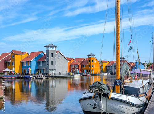 Fotografie, Obraz Reitdiep, Groningen stad, Groningen Province, THe Netherlands