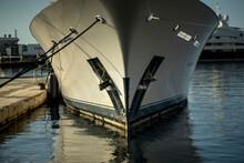 Luxury Yacht Moored In A Tourist Port, Northern Mediterranean