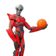 Mega Alien Is Holding A Basketball Ball