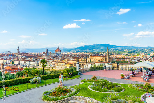 Fotografie, Tablou Scenic view of Florence from Piazzale Michelangelo, with cathedral on the background