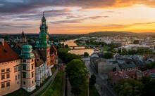 Magic Sunset Over Wawel Castle, Krakow, Poland