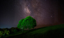Starry Night Sky With Part Of Milky Way Galaxy For Background. Soft Focus And Noise Due To Long Expose And High Iso.