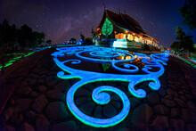 Amazing Glow Temple At Sirindhorn Wararam Phu Prao Temple Or Wat Phu Prao At Sirindhorn District In Ubon Ratchathani, Thailand