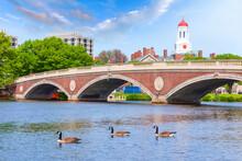 Vintage Bridge With Clock Tower Over Charles River Near Harvard University Campus Boston