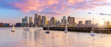 Boston Harbour Skyline And Financial District  In Massachusetts, USA
