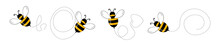 Set Of Cartoon Bee Mascot. A Small Bees Flying On A Dotted Route. Wasp Collection. Vector Characters. Incest Icon. Template Design For Invitation, Cards. Doodle Style