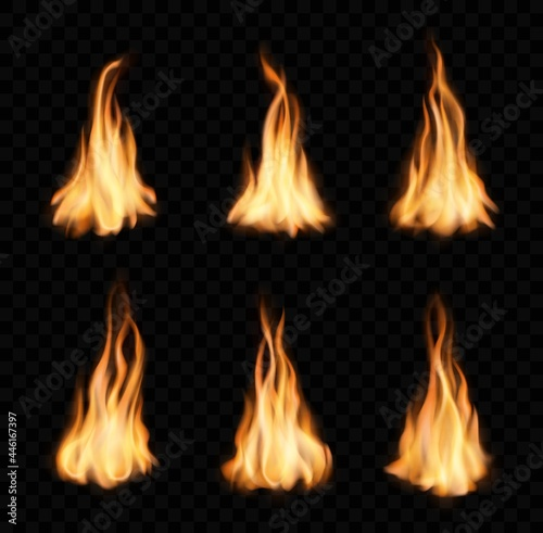 Obraz na plátně Burning fire flames and trails, vector campfire set