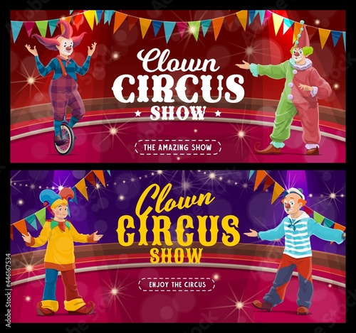 Fotografija Shapito circus cartoon clowns and jesters, vector artists or performers on big top arena