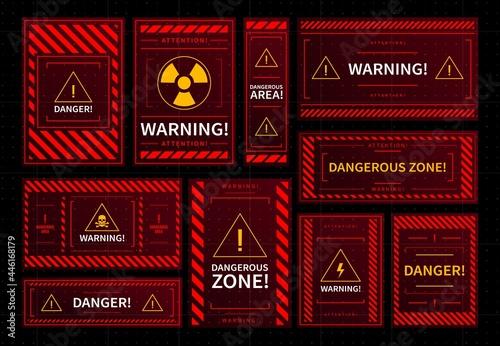 Cuadros en Lienzo Danger and dangerous zone warning red frames