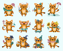 Cute Cartoon Vector Tiger Cubs Big Set. Isolated Icons Of Cats On A White Background. Hand-drawn Colorful Animals In Various Poses. Flat Style, Colored Doodle. Childrens Illustration.