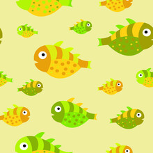 Seamless Vector Pattern With Cute Yellow And Green Decorative Fish. Funny Multicolor Background, Sea Texture