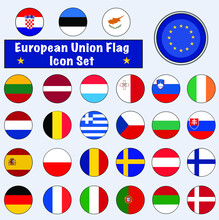 Full Europe Union (EU) Flag Icon Set Of A Group Of Nations Or Allies For Concepts And Themes In Europe.