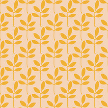 Autumn Pink And Yellow Leaves Seamless Pattern