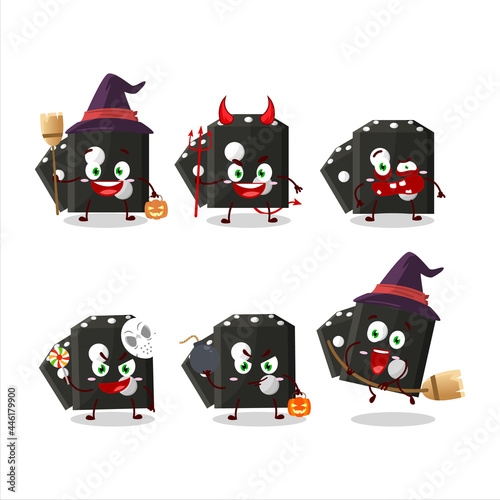 Canvastavla Halloween expression emoticons with cartoon character of black dice new