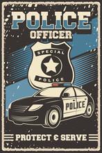 Retro Poster Of Police Car Vector Illustration