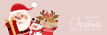 Merry Christmas And Happy New Year Greeting Card With Cute Santa Claus And Deer. Holiday Cartoon Character In Winter Season. -Vector