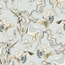 Unicorn And Lotus Flowers Seamless Vector Pattern.