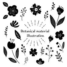 北欧風 可愛い植物や花のシルエットイラスト素材
