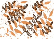 Orange And Brown Leaves Watercolor Background Texture Pattern Elements Set
