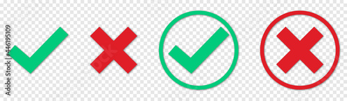Fotografie, Obraz Green check mark, red cross mark icon