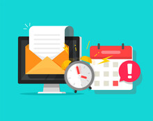Deadline Online Task Concept Notified Via Calendar Alarm Notice And Email Message Flat Cartoon Vector Illustration, Desktop Computer Project Reminder Important Attention Information Received