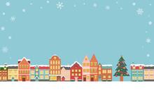 冬のクリスマスの街並みのベクターイラスト背景(風景,フレーム,xmas.X'mas,町並み,雪,カード,メッセージカード,コピースペース)