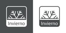 Icono Con Texto Invierno En Español Con Copo De Nieve En Cuadrado En Fondo Gris Y Fondo Blanco