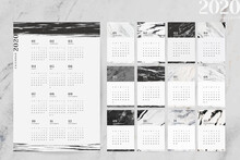 Black And White Marble Calendar For 2020 Vector