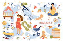Pregnancy Concept Isolated Elements Set. Collection Of Pregnant Woman Hugging Belly, Doing Yoga, Baby Care, Crib, Stroller, Toys, Bottles, Clothes And Other. Vector Illustration In Flat Cartoon Design