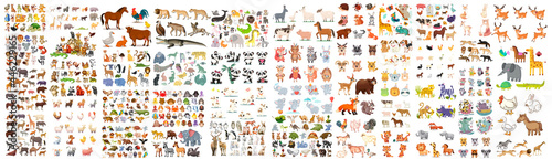 Fotografiet A large set of animals of the world on a white background