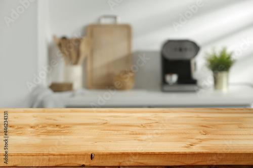 Fototapeta Desk of free space and kitchen interior