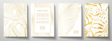 Tropical Gold Cover Design Set. Floral Background With Golden Line Pattern Of Exotic Leaf (palm, Banana Tree). Elegant Vector Collection For Wedding Invite, Brochure Template, Restaurant Menu