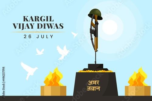 Flat Kargil Vijay Diwas Illustration_2 Fotobehang