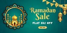 Ramadan Kareem Sale Banner Web Header Design With Hanging Intricate Lanterns Template_2