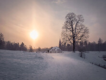 Soft Focus Sunny Morning Winter Frosty Landscape With Old Maltese Palace Beautiful Natural Landscape Gatchina Russia