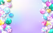 Colorful Balloons Frame On Pastel Background.
