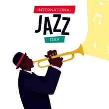 International Jazz Day Illustration With Man Trumpet
