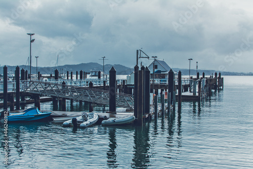 Obraz na plátne Retro style photo of Russel Wharf on a stormy day