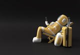 3d Render Spaceman Astronaut sitting on chair using phone with travel suitcase 3d illustration Design.