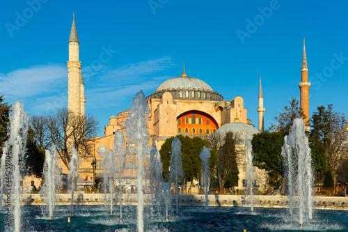 Canvastavla Sultanahmet Square with fountain near Hagia Sophia Mosque in Istanbul, Turkey