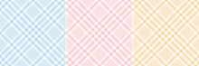 Plaid Pattern Set. Glen Tartan In Pastel Blue, Pink, Yellow, White. Seamless Tweed Checks For Tablecloth, Picnic Blanket, Oilcloth, Skirt, Dress, Duvet Cover, Other Spring Summer Fashion Fabric Print.