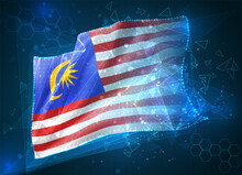 Malaysia,  Vector Flag, Virtual Abstract 3D Object From Triangular Polygons On A Blue Background