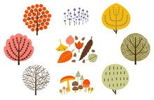 北欧風の丸い形の木と落ち葉、きのこ、草花のイラスト素材セット