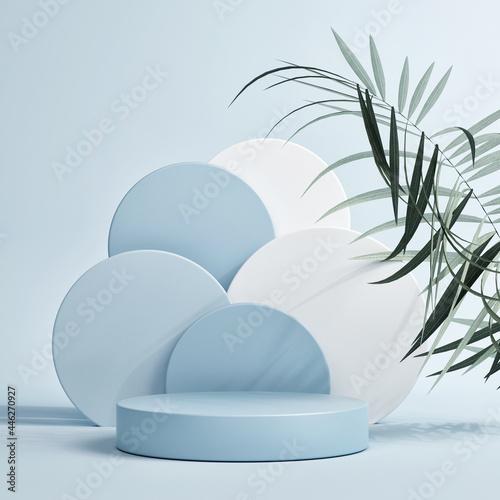 Pedestal for product presentation, blue background, 3d render, 3d illustration Poster Mural XXL
