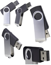 USB Flash Drive With A Metal Handle. Computer Data Storage Device.