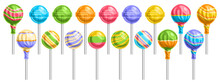 Vector Set Of Lollipops, Lot Collection Of 17 Cut Out Illustrations Of Different Wrapping And Striped Lollipops On Sticks, Banner With Group Of Isolated Tasty Fruity Candies On White Background.