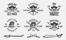 Vintage Pirate Skull Logo Templates And 3 Swords. Elements For T-shirt, Tattoo, Typography Design. Pirate, Skull Emblems Templates. Saber, Knife, Sword Icons. Vector Illustration