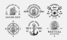 Vintage Hipster Nautical Logo Templates. Sailing, Sea Traveling, Dive Club Emblems. Maritime Emblems Templates. Anchor, Sea Ship, Shell Pearl Icons. Vector Illustration